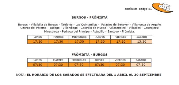 horarios autobuses Burgos Castrojeriz