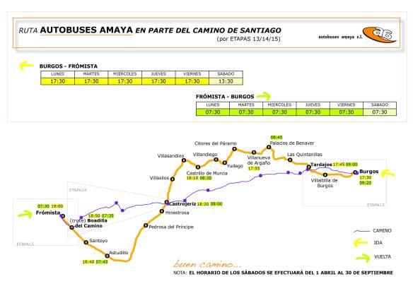 Autobuses Amaya Burgos Frómista Camino Santiago mapa